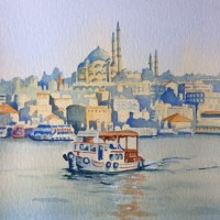 Ferry Crossing the Bosphorus, Istanbul – Europe Art Gallery – Painting by Woking Surrey Artist David Harmer