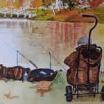 Fishing at Painshill Park, Cobham – Surrey Art Gallery – Painting by Woking Surrey Artist David Harmer