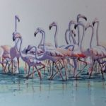 Flamingos in the Camargue – Animals, Birds and Plants Art Gallery – Painting by Woking Surrey Artist David Harmer