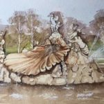 Fountain of Love, Cliveden House,Buckinghamshire – Britain Art Gallery – Painting by Woking Surrey Artist David Harmer