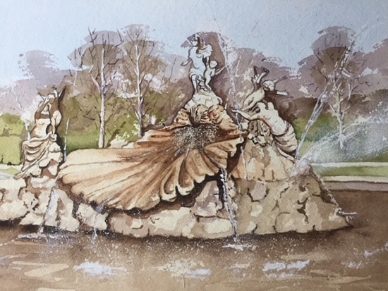 Fountain of Love, Cliveden House,Buckinghamshire - Britain Art Gallery - Painting by Woking Surrey Artist David Harmer