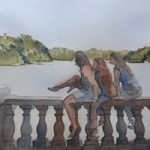 Girls in Hyde Park London – Watercolour Painting – Art by Woking Surrey Artist David Harmer