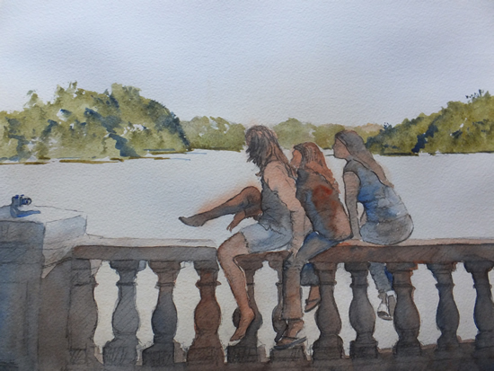 Girls in Hyde Park London - Watercolour Painting - Art by Woking Surrey Artist David Harmer
