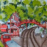 Goathlands Railway Station (or is it Hogsmeade) – Britain Art Gallery – Painting by Woking Surrey Artist David Harmer