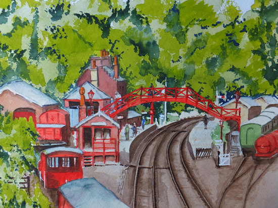 Goathlands Railway Station (or is it Hogsmeade) - Britain Art Gallery - Painting by Woking Surrey Artist David Harmer