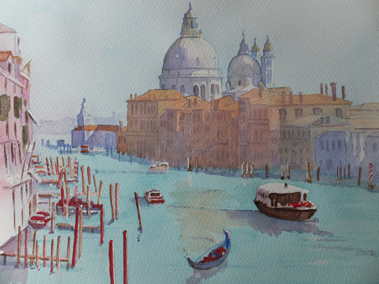Grand Canal, Venice - Europe Art Gallery - Painting by Woking Surrey Artist David Harmer