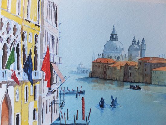 Grand Canal Venice Italy - Europe Art Gallery - Painting by Woking Surrey Artist David Harmer