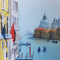Grand Canal, Venice Italy – European Art Gallery – Painting by Woking Surrey Artist David Harmer