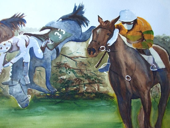 Grand National - Animals Art Gallery - Painting by Woking Surrey Artist David Harmer