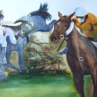 Grand National – Animals Art Gallery – Painting by Woking Surrey Artist David Harmer