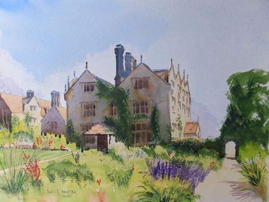 Gravetye Manor Hotel, East Sussex - Britain Art Gallery - Painting by Woking Surrey Artist David Harmer
