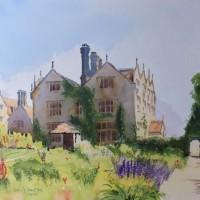 Gravetye Manor Hotel, East Sussex – Britain Art Gallery – Painting by Woking Surrey Artist David Harmer