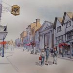 Guildford High Street – Surrey Art Gallery – Painting by Woking Surrey Artist David Harmer