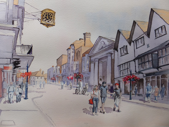 Guildford High Street - Surrey Art Gallery - Painting by Woking Surrey Artist David Harmer