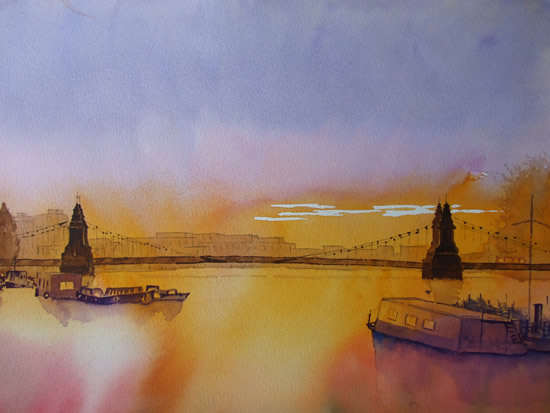 Hammersmith Bridge Sunset - London Britain Art Gallery
