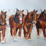 Horses Ploughing Team – Watercolour Painting – Art by Woking Surrey Artist David Harmer
