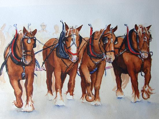 Horses Ploughing Team - Watercolour Painting - Art by Woking Surrey Artist David Harmer