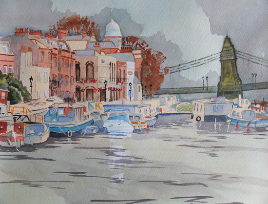 Houseboats by Hammersmith Bridge - London Art Gallery - Painting by Woking Surrey Artist David Harmer