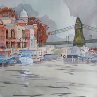 Houseboats by Hammersmith Bridge – London Art Gallery – Painting by Woking Surrey Artist David Harmer