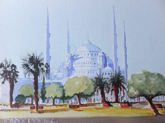 Istanbul, Blue Mosque - Europe Art Gallery - Painting by Woking Surrey Artist David Harmer