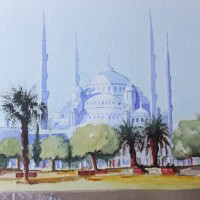 Istanbul, Blue Mosque – Europe Art Gallery – Painting by Woking Surrey Artist David Harmer