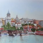 Istanbul, Bosphorus Waterfront – Europe Art Gallery – Painting by Woking Surrey Artist David Harmer