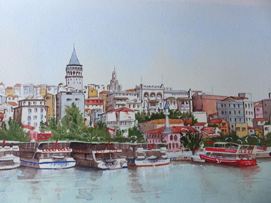 Istanbul, Bosphorus Waterfront - Europe Art Gallery - Painting by Woking Surrey Artist David Harmer
