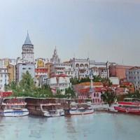 Istanbul, Bosphorus Waterfront – Europe Art Gallery – Painting by Woking Surrey Artist David Harmer