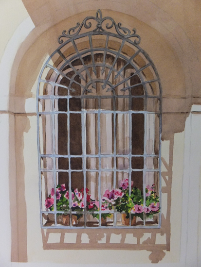 Italian Window 3 - Europe Art Gallery - Painting by Woking Surrey Artist David Harmer