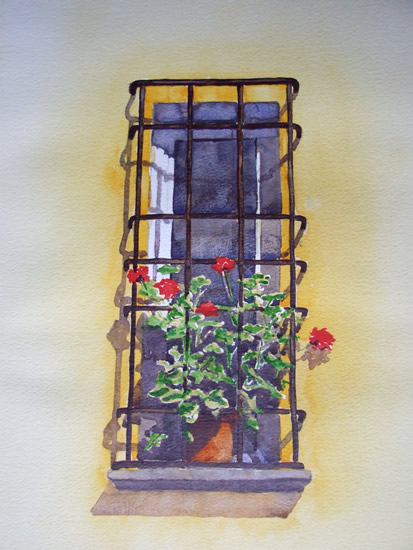 Italian Window- Watercolour Painting - Art Gallery of Woking Surrey Artist David Harmer