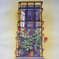 Italian Window- Watercolour Painting – Art Gallery of Woking Surrey Artist David Harmer