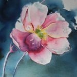 Japanese Anemone – Flowers Art Gallery – Watercolour Painting – Art by Woking Surrey Artist David Harmer
