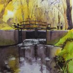 Lock Gates, Basingstoke Canal – Navigations Art Gallery – Watercolour Painting – Art by Woking Surrey Artist David Harmer