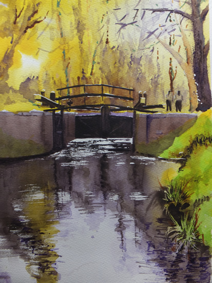 Lock Gates, Basingstoke Canal - Navigations Art Gallery - Watercolour Painting - Art by Woking Surrey Artist David Harmer