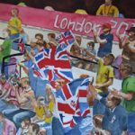 London Olympics 2020 Enthusiastic British Supporters – Sports Art Gallery – Painting by Woking Surrey Artist David Harmer