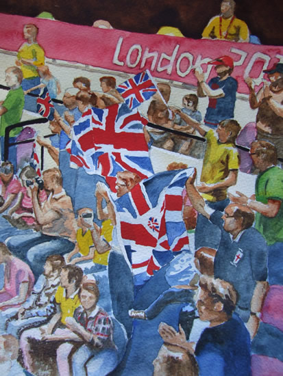 London Olympics 2020 Enthusiastic British Supporters - Sports Art Gallery - Painting by Woking Surrey Artist David Harmer