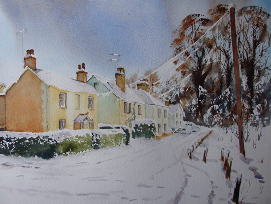 Lye View Cottages St Johns Woking in the Snow - Winter Art Gallery - Watercolour Painting - Art by Woking Surrey Artist David Harmer