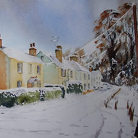 Lye View Cottages St Johns Woking in the Snow – Winter Art Gallery – Watercolour Painting – Art by Woking Surrey Artist David Harmer