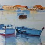 Marzameni – Fishing Village in Sicily – Europe Art Gallery – Painting by Woking Surrey Artist David Harmer