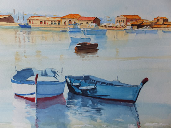 Marzameni - Fishing Village in Sicily - Europe Art Gallery - Painting by Woking Surrey Artist David Harmer