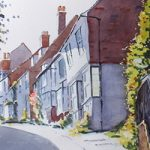 Mermaid Street Rye East Sussex – Watercolour Painting – Art Gallery of Woking Surrey Artist David Harmer