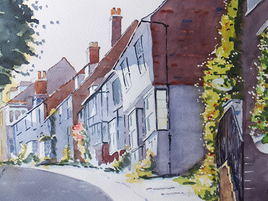 Mermaid Street Rye East Sussex - Watercolour Painting - Art Gallery of Woking Surrey Artist David Harmer