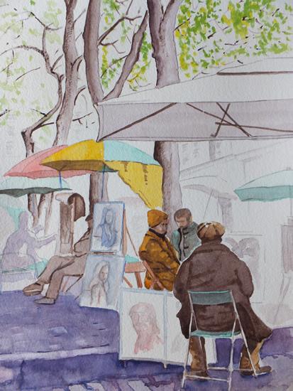 Montmartre - Artists' Quarter - Europe Art Gallery - Painting by Woking Surrey Artist David Harmer