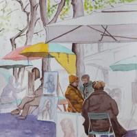 Montmartre – Artists' Quarter – Europe Art Gallery – Painting by Woking Surrey Artist David Harmer
