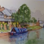 Mooring at St.Johns on the Basingstoke Canal – Surrey Scenes Art Gallery – Painting by Woking Surrey Artist David Harmer