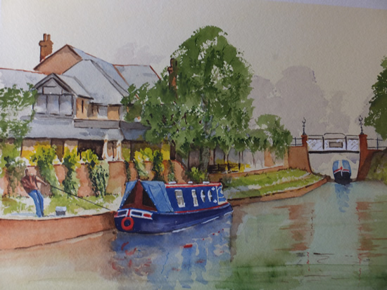 Mooring at St.Johns on the Basingstoke Canal - Surrey Scenes Art Gallery - Painting by Woking Surrey Artist David Harmer