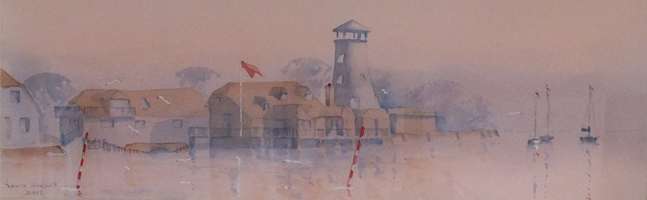 Morning Mist in Langstone - Britain Art Gallery - Painting by Woking Surrey Artist David Harmer