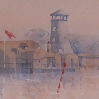 Morning Mist in Langstone – Britain Art Gallery – Painting by Woking Surrey Artist David Harmer