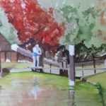 New Haw Lock on the Wey Navigation, Surrey – Surrey Scenes Art Gallery – Painting by Woking Surrey Artist David Harmer