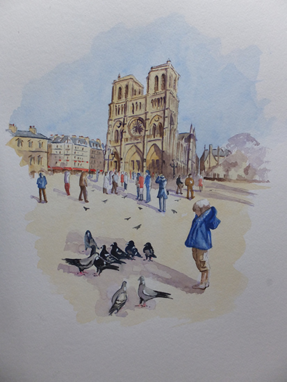 Notre Dame de Paris in Winter Sunshine - Europe Art Gallery - Painting by Woking Surrey Artist David Harmer